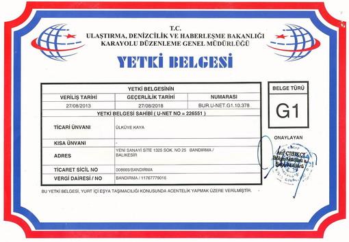 AmbarTÜRK Yurtiçi Taşımacılık ve Nakliyat Ambarı; G1 Yetki Belgesi (Yurtiçi Eşya ve Yük Taşımacılığı Alanında Acentelik yapacaklara verilir.)